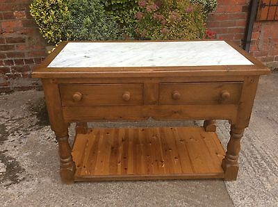 Stunning Large Marble Top Solid Pine Kitchen Unit / Island...