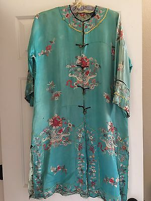 Antique Asian Silk, Embroidered Robe
