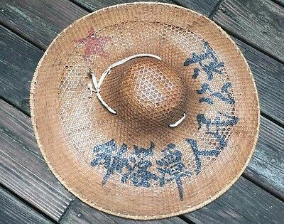 Vintage Chinese Vietnamese Asian japan Rice Field Straw Bamboo Hat Costume Farm