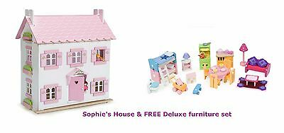 NEW Le Toy Van Sophie's Wooden Dolls House Sophies + FREE Deluxe Furniture set