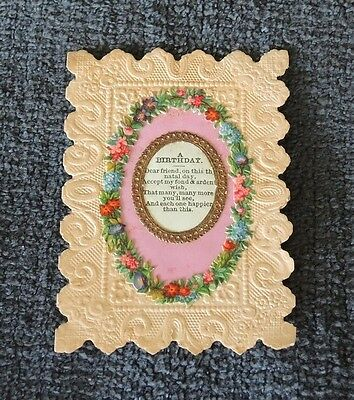 Small Antique Victorian Birthday Card Flower Scraps Metal Frame Dated 1877 #1