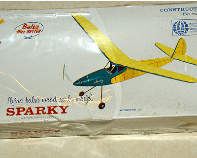 New in Box Comet Sparky Rubber Band Powered Model Airplane Kit
