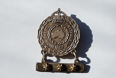 Australian WW2 Women of Australia numbered badge with 3 stars