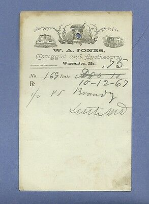 1869 WA Jones Druggist Apothecary Warrenton Missouri Prescription Receipt No 169