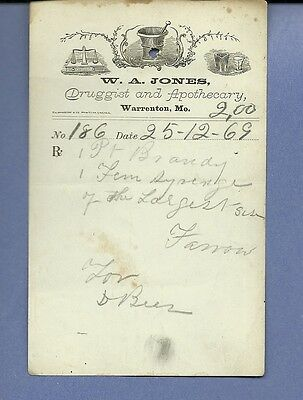 1869 WA Jones Druggist Apothecary Warrenton Missouri Prescription Receipt No 186