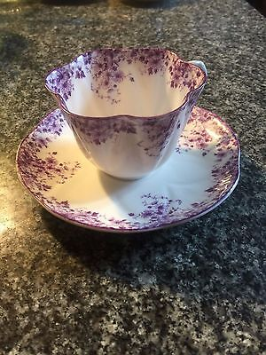 Lovely Shelley Dainty Mauve Porcelain Cup & Saucer, Chip On Cup, Showpiece Only