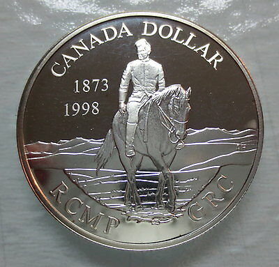 1998 Canada 125Th Anniversary Of The Rcmp Proof Silver Dollar Coin - A