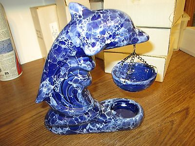 Blue & White Swirl Marble Dolphin Tea Candle & Ceramic Oil Burner ( Brand New )
