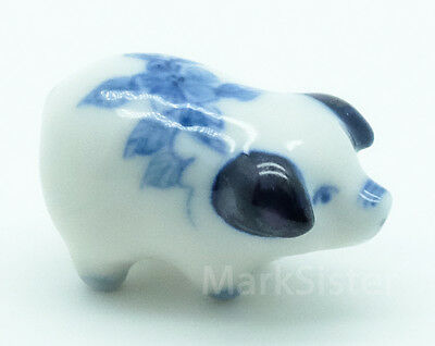 Figurine Animal Miniature Ceramic Statue Piggy Pig Flower- CFP010