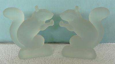 Lot of 2 Frosted Satin Glass Squirrel Figurines Art Glass
