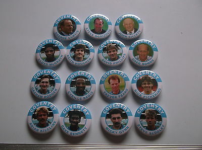 COVENTRY CITY  FA  CUP WINNERS  1987  BADGES  X 15  38mm  IN SIZE.