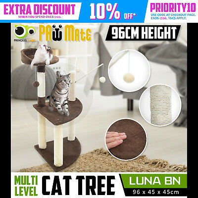 Cat Tree Scratching Post Scratcher Pole Gym House Furniture Multi Level 95cm BN