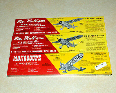 New in Box SIG MFG Kits 2 Mr. Mulligan and 1 Monocoupe Model Airplane