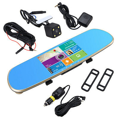 1080P Quad Core 5'' Android 4.0 Car Rearview Mirror GPS DVR +Wifi +Backup Camera