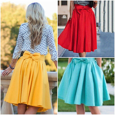 Vintage Women Bowknot High Waist A Line Summer Party Casual Loose Pleated Skirts