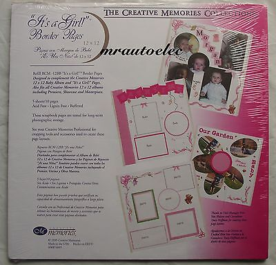 Creative Memories It's a Girl Pre Printed Pink Border Original 12x12 Pages NLA