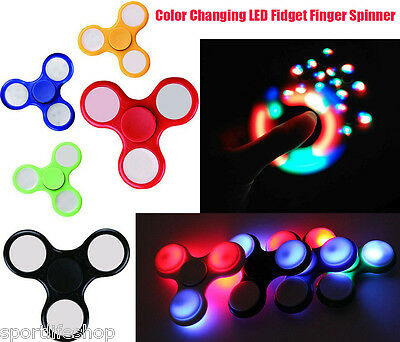LED Light Up Hand Fidget Finger Spinner Torqbar Brass Stress Toys EDC Focus Gyro