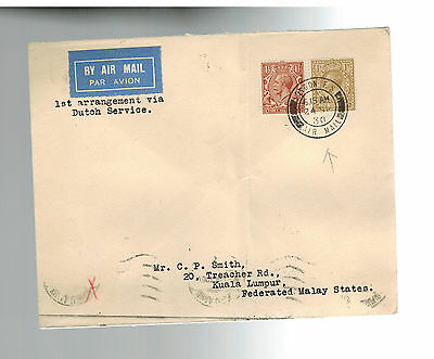 1930 England First Flight Cover via Thailand KLM to Malaysia FFC