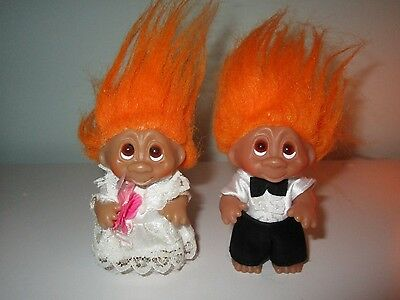"1985 3"" NORFIN BRIDE & GROOM TROLLS - Orange hair"
