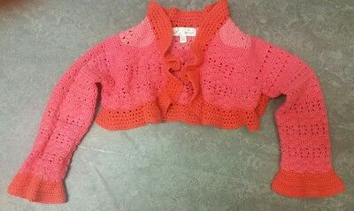 Marks and Spencer mini boutique girls crochet bolero red coral age 1.5-2 years