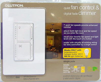 Lutron MA-LFQHW-WH Maestro Fan Control and Dimmer Kit, White BRAND NEW