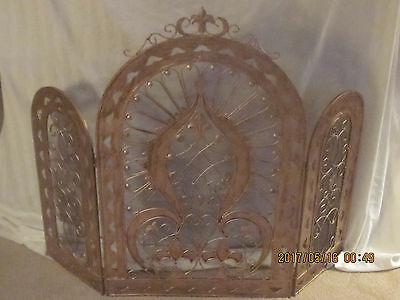 French Tuscan Fleur De Lis / Antique Fireplace Screen