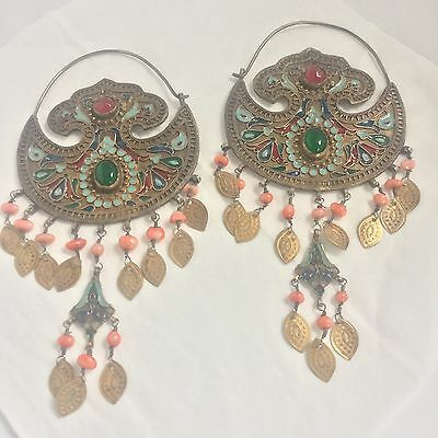 Ethnic Earrings Pair Coral Glass Enamel Silver Afghan Uzbek E01/2