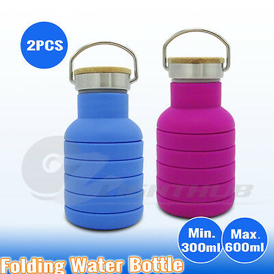 2 x 600ML Collapsible Gym Water Bottle Outdoor Sport Camping Yoga Office Kettle