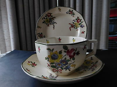 Royal Doulton Old Leeds Spray Cup Saucer Plate Trio