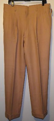 "1940's VINTAGE PANTS HAND TAILORED GABERDINE 34"" X 30"" WOOL BLEND PEACH TROUSERS"