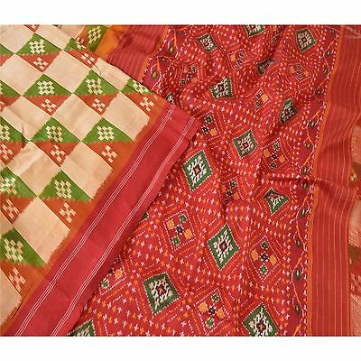 Sanskriti Vintage Indian Saree Woven Patola Sari Fabric Pure Silk Soft Cream