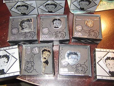LOT OF 5 BETTY BOOP .925 STERLING SILVER SIGNED KFS FS Figure Heart PIN Necklace