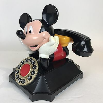 VINTAGE DISNEY *MICKEY MOUSE* PUSH BUTTON DESK PHONE BY TELEMANIA & Cords Tested