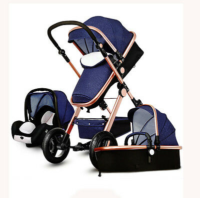 Hot 3 in 1 High view foldable Baby Stroller  pushchair bassinet&Car Seat