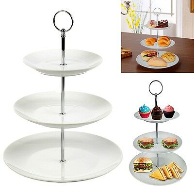 3 Layer Tier Ceramic White Round Serving Display Cakes Platter Food Stand Rack