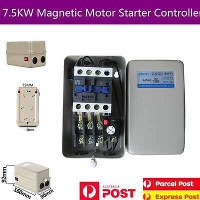 Magnetic Motor Starter Control 10 HP Single Phase 380V 14-22A + On/Off Button
