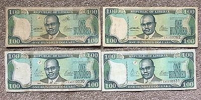 LIBERIA  100 Dollars Banknote x 4     1999 and 2004