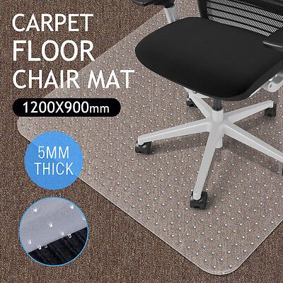 Frosted Office Chair Mat Floor Carpet Protector Rectangle 90x120cm PVC Grips 5MM