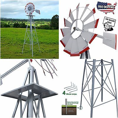 8' Windmill Ornamental Garden Weather Vane Weather Resistant Silver Wind Spinner