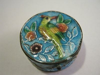 Vintage Signed China Enamel Pill Box With Bird & Flowers