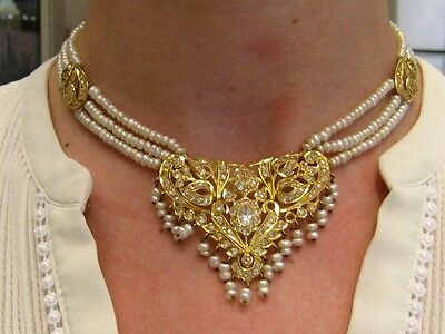"18ct yellow Gold Pearl & white Sapphire 16""  necklace. From UK"