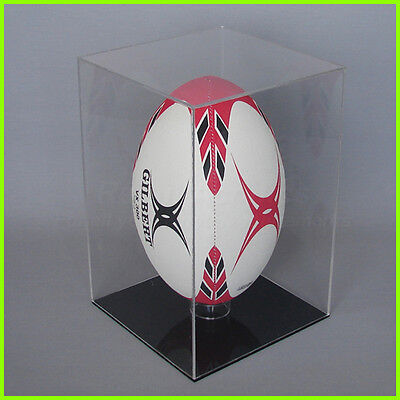 RUGBY BALL DISPLAY CASE Vertical CLEAR BLACK/ WHITE Full size 5 Acrylic Perspex