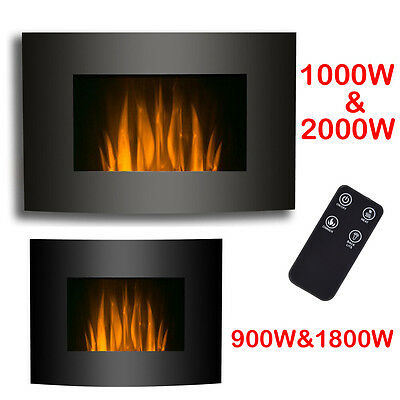 Wall Mounted Electric Fireplace Glass Heater Fire Remote Control LED 1KW / 2KW