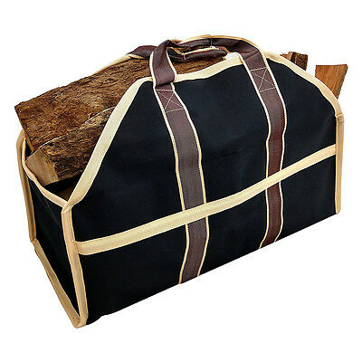 Firewood Canvas Caddy Log Tote Bag Carrier Holder Transports Large Capacity Tool