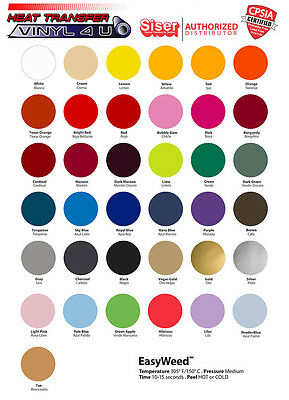 "Siser Easyweed Heat Transfer Vinyl (15""x12"") 15 Sheets - SELECT YOUR COLORS!"
