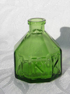 Vintage Wheaton Green Glass Octagon Shaped Ink Well Bottle