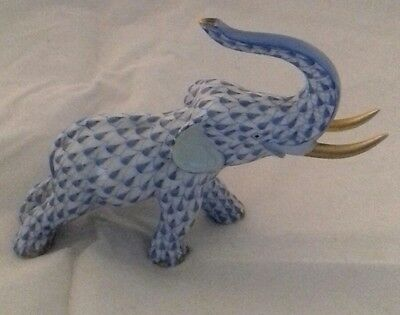 Herend Blue Fishnet  Porcelain  Elephant