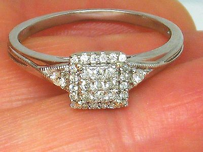 9CT White gold 9K Gold  0.20ct Diamond Engagement ring size T
