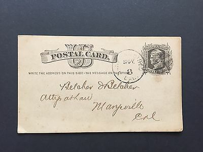 1877 US Postal Card from Supreme Court of the State of California