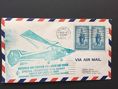 1950 US Cover with Special Helicopter Mail Freight stamp - Unusual